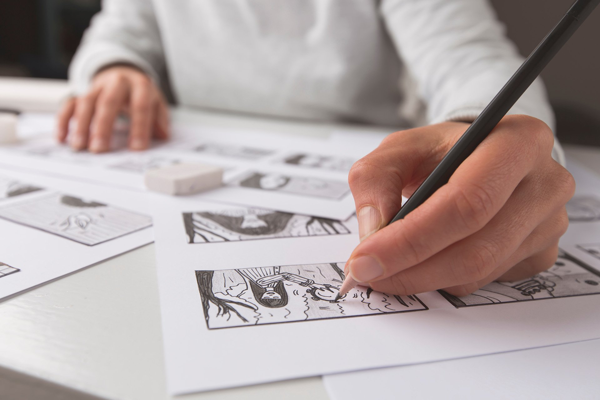 Animator storyboarding a scene